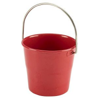 Stainless Steel Miniature Bucket 4.5cm Dia Red