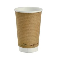 Vegware Hot Cup Kraft Double Wall - 16oz (Box 400)