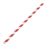 Biodegradable Paper Straws Red & White Stripe 6mm box of 250