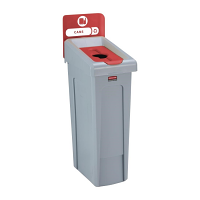 Rubbermaid Slim Jim Recycling Station Single Stream - Cans (Red)