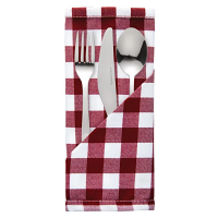 Gingham Polyester Napkins Red Check