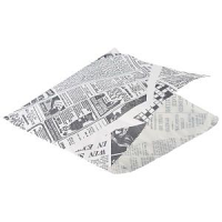 Greaseproof Paper Bags White Newspaper Print 17.5 x 17.5cm