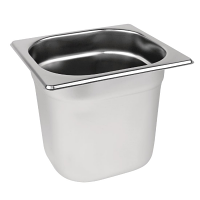 Stainless Steel Gastronorm Pan - 1/6 Size 150mm deep