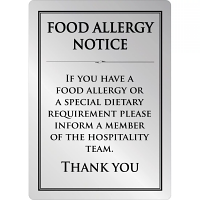 Food Allergy Sign Silver - A4 297x210mm