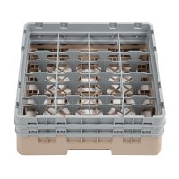 Cambro Camrack 16 Compartment Glass Rack Beige - Max Height 133mm