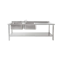 Atlas DBRD1800 Large Double Sinks, Right Drainer