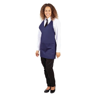 Whites V Neck Service Apron - Navy Blue