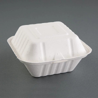 Compostable Burger Box Hinged - 79x143x146mm (Pack 500)