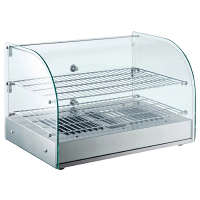Buffalo Pastry Heated Showcase Curved Glass w/ Hinged Rear Doors 2 Shelves 45Ltr