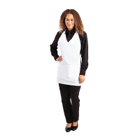 Whites V Neck Service Apron - White