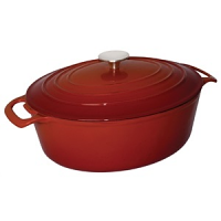 Vogue Red Oval Casserole Dish 6Ltr