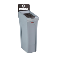 Rubbermaid Slim Jim Recycling Station Single Stream - Compost (Brown)
