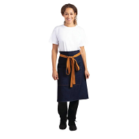 Southside Bistro Apron Denim Blue (Tan Ties) - 1000x700mm