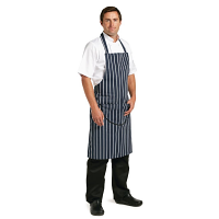 Navy Butchers Stripe Bib Apron