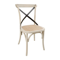 Bolero Wooden Dining Chair with Metal Cross Backrest Earthwash Finish (Box 2)