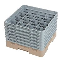 Cambro Camrack 16 Compartment Glass Rack Beige - Max Height 257mm