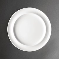 "Olympia Heritage White Raised Rim Plate - 10"" (Box 4)"