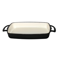 Vogue Rectangular Black Cast Iron Dish Large