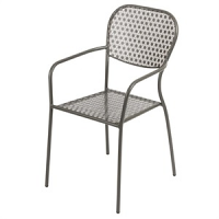 Grey Steel Patterned Bistro Armchairs (Pack of 4)