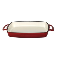 Vogue Red Rectangular Cast Iron Dish 2.8Ltr