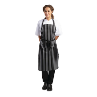 Black Butchers Stripe Bib Apron