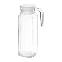 Olympia Ribbed Glass Jug with Lid - 1Ltr (Box 6)