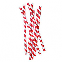 "Paper Straws-Red and White Stripes 8"" Boxed (100 pp)"
