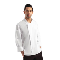 Chef Works Urban Hartford Lightweight Zipper Chefs Jacket White