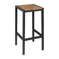 Bolero Steel & Acacia Bar Stool (Pack of 2)