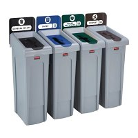 Rubbermaid SJRS 4 Strm bund - General (Blk)/ Compost (Br)/ Mixed(Gn)/ Paper(Blu)