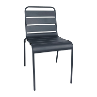 Bolero Grey Slatted Steel Sidechair