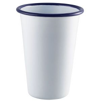 Enamel Tall Tumbler White with Blue Rim 40cl/14oz