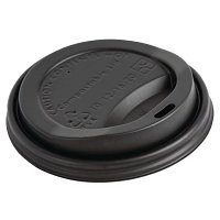 Biodegradable PLA Lid for Coffee Cups Black- 12oz (Pack 50)