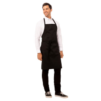 Adjustable Neck Bib Apron Black with pockets