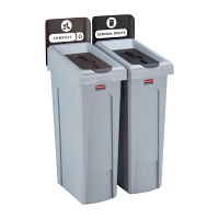 Rubbermaid Slim Jim Recycling Station 2 Strm bund - General (Blk)/ Compost (Brn)