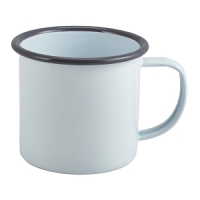 Enamel Mug White with Grey Rim 36cl/12.5oz