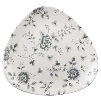 Churchill Vintage Prints Grey Rose Chintz Pattern Triangle Plate 9'' (12 Per Case)