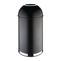 Bolero 40Ltr Black Steel Bullet Bin with Open Lid