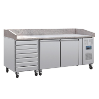 Pizza counter with marble top 2 doors,  dough drawers side compressor