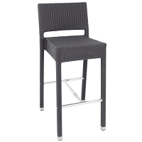 Bolero PE Wicker Poseur Stool Charcoal (Pack of 4)
