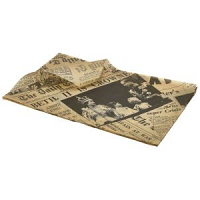 Greaseproof Paper Brown Newspaper Print 25 x 35cm