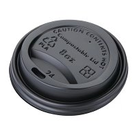 Biodegradable PLA Lid for Coffee Cups Black - 8oz (Box 1000)