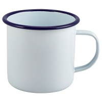 Enamel Mug White with Blue Rim 56.8cl/20oz