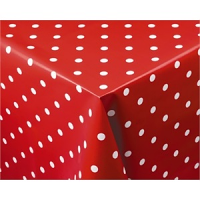 "Crimson Polka Dot PVC Table Cloth 890x 890mm. 35x 35""."