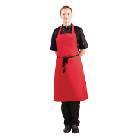 Whites Bib Apron Polycotton Red