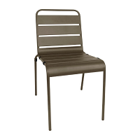 Bolero Coffee Slatted Steel Sidechair