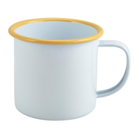 Enamel Mug White with Yellow Rim 36cl/12.5oz