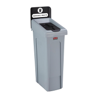 Rubbermaid Slim Jim Recycling Station Single Stream - General Waste (Black)