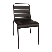 Bolero Black Slatted Steel Sidechair (Pack of 4)