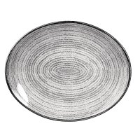 Churchill Studio Prints Homespun Stone Grey Oval Coupe Plate 317 x 255mm